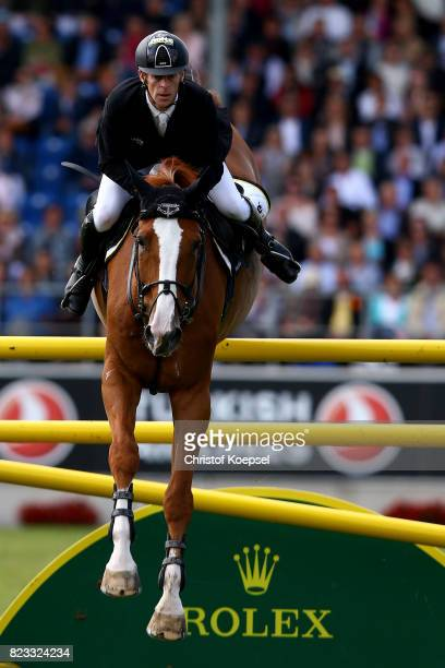 Marcus Ehning of Germany rides on Pret a Tout during the Rolex Grand Prix of CHIO Aachen 2017 at Aachener Soers on July 23 2017 in Aachen Germany
