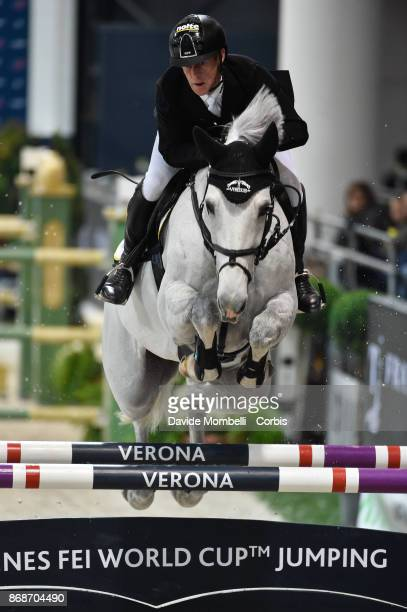 Marcus Ehning of Germany riding Calanda 42 during the Longines FEI World Cup presented CSI5 by FRANCO TUCCI on October 28 2017 in Verona Italy
