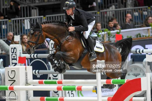 Marcus Ehning of Germany riding Comme il faut 5 during the Longines FEI Jumping World Cup Verona 2018 CSI5*W on October 28 2018 in Verona Italy