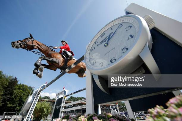 Marcus Ehning of Germany riding Comme Il Faut competes during Day 4 of the Longines FEI Jumping European Championship 2nd part, team Jumping 1st...