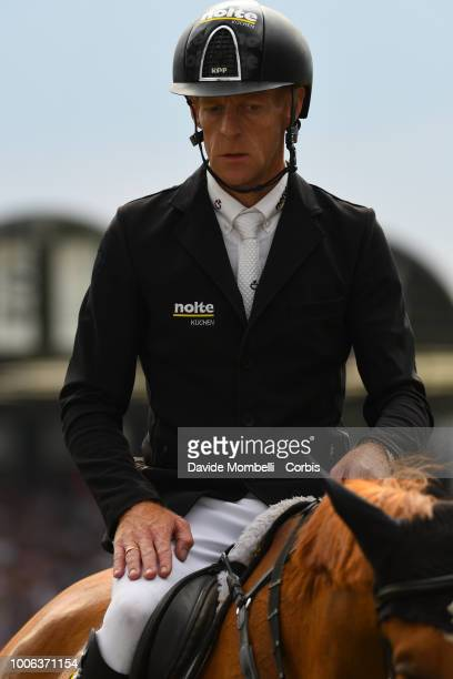 Marcus Ehning of Germany riding Pret A Tout during the Jump off the Rolex Grand Prix The Grand Prix of Aachen Jumping competition over two rounds and...
