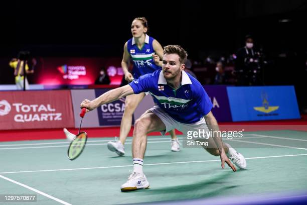 Marcus Ellis and Lauren Smith of England of Thailand compete in the Mixed Doubles second round match against Supak Jomkoh and Supissara Paewsampran...