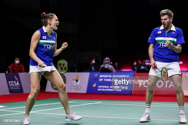 Marcus Ellis and Lauren Smith of England of Thailand react in the Mixed Doubles second round match against Supak Jomkoh and Supissara Paewsampran of...