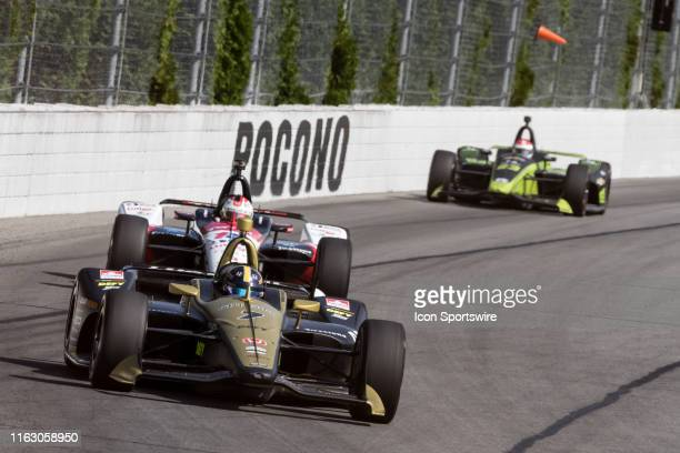 Marcus Ericsson driver of the Arrow Schmidt Peterson Motorsports Honda races into turn 2 during the ABC Supply 500 on August 18 at Pocono Raceway in...