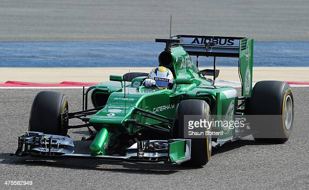 Marcus Ericsson of Sweden and Caterham drives during day two of Formula One Winter Testing at the Bahrain International Circuit on February 28, 2014...