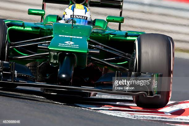 Marcus Ericsson of Sweden and Caterham drives during practice ahead of the Hungarian Formula One Grand Prix at Hungaroring on July 25, 2014 in...
