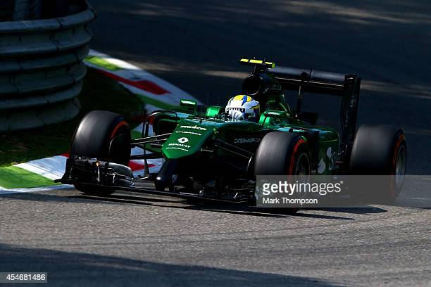 Marcus Ericsson of Sweden and Caterham drives during Practice ahead of the F1 Grand Prix of Italy at Autodromo di Monza on September 5 2014 in Monza...