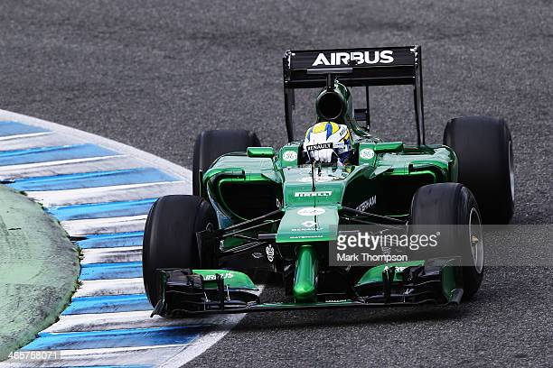 Marcus Ericsson of Sweden and Caterham drives the new CT05 during day two of Formula One Winter Testing at the Circuito de Jerez on January 29, 2014...