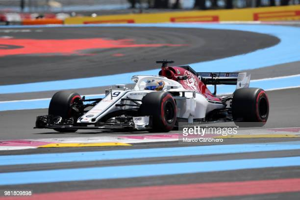 Marcus Ericsson of Sweden and Sauber Alfa Romeo on track during practice for the Formula One Gran Prix de France