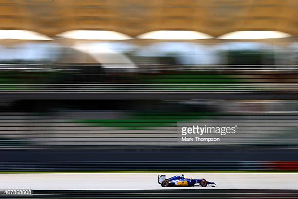 Marcus Ericsson of Sweden and Sauber F1 drives during final practice for the Malaysia Formula One Grand Prix at Sepang Circuit on March 28 2015 in...