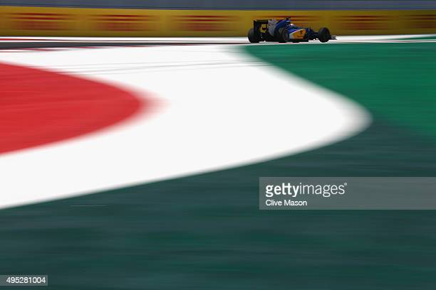 Marcus Ericsson of Sweden and Sauber F1 drives during the Formula One Grand Prix of Mexico at Autodromo Hermanos Rodriguez on November 1 2015 in...