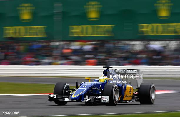 Marcus Ericsson of Sweden and Sauber F1 driwves during the Formula One Grand Prix of Great Britain at Silverstone Circuit on July 5 2015 in...