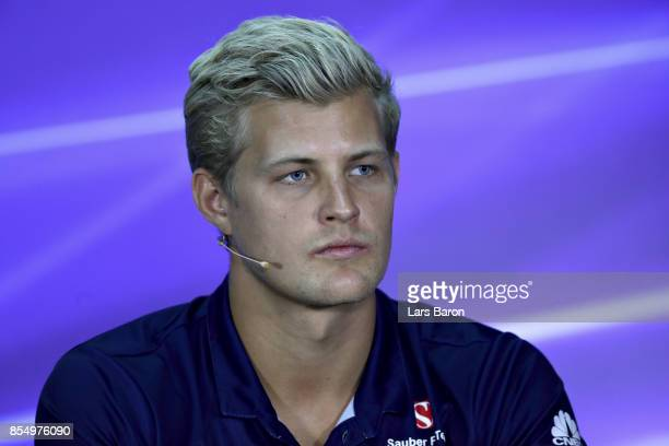 Marcus Ericsson of Sweden and Sauber F1 in the Drivers Press Conference during previews for the Malaysia Formula One Grand Prix at Sepang Circuit on...