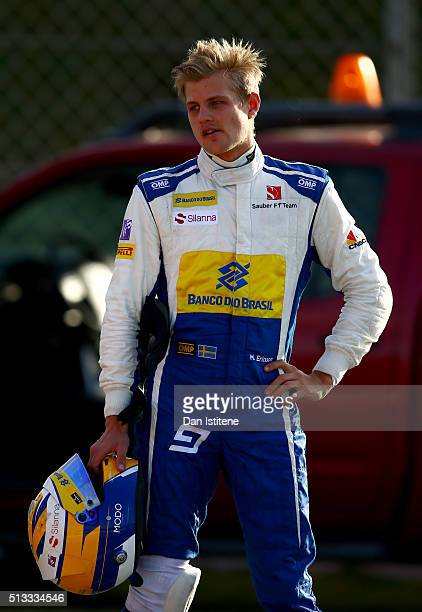 Marcus Ericsson of Sweden and Sauber F1 reacts after losing a wheel and stopping on track during day two of F1 winter testing at Circuit de Catalunya...