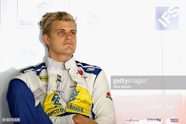 Marcus Ericsson of Sweden and Sauber F1 sits in the garage during final practice for the Formula One Grand Prix of Japan at Suzuka Circuit on October...