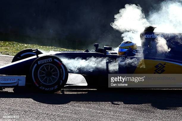 Marcus Ericsson of Sweden and Sauber F1 spins the car on track during day one of Formula One Winter Testing at Circuito de Jerez on February 1 2015...