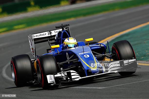 Marcus Ericsson of Sweden drives the Sauber F1 Team Sauber C35 Ferrari 059/5 turbo on track during qualifying for the Australian Formula One Grand...