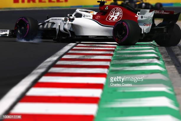 Marcus Ericsson of Sweden driving the Alfa Romeo Sauber F1 Team C37 Ferrari spins during practice for the Formula One Grand Prix of Hungary at...