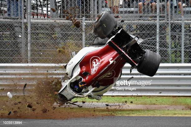Marcus Ericsson of Sweden driving the Alfa Romeo Sauber F1 Team C37 Ferrari crashes during practice for the Formula One Grand Prix of Italy at...