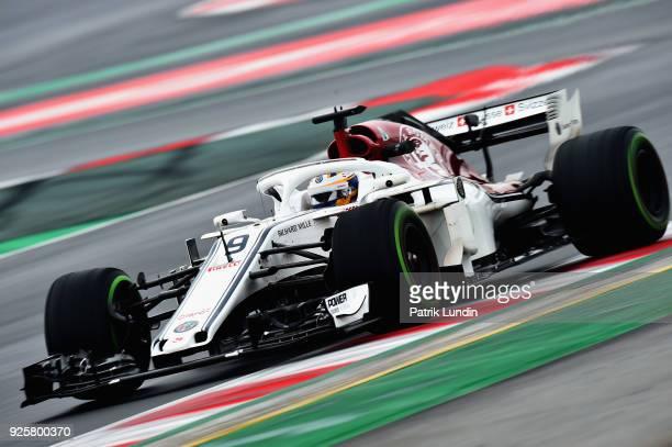Marcus Ericsson of Sweden driving the Alfa Romeo Sauber F1 Team C37 Ferrari on track during day four of F1 Winter Testing at Circuit de Catalunya on...