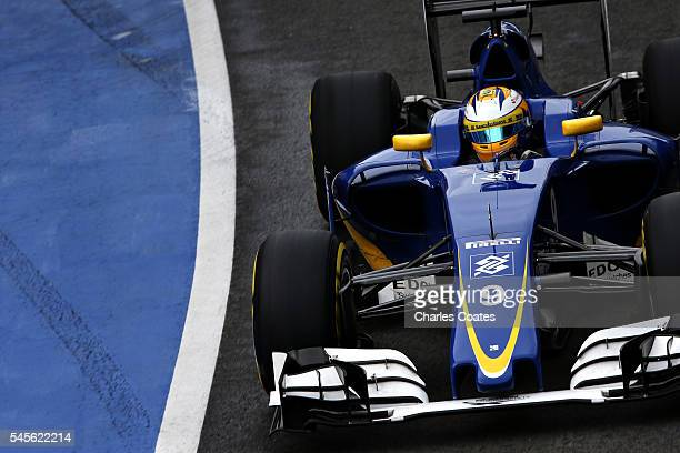 Marcus Ericsson of Sweden driving the Sauber F1 Team Sauber C35 Ferrari 059/5 turbo in the Pitlane during final practice for the Formula One Grand...
