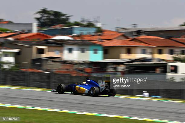 Marcus Ericsson of Sweden driving the Sauber F1 Team Sauber C35 Ferrari 059/5 turbo on track during practice for the Formula One Grand Prix of Brazil...