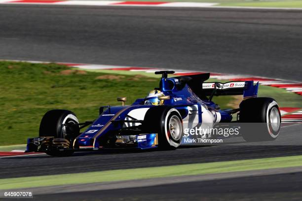 Marcus Ericsson of Sweden driving the Sauber F1 Team Sauber C36 Ferrari on track during day one of Formula One winter testing at Circuit de Catalunya...