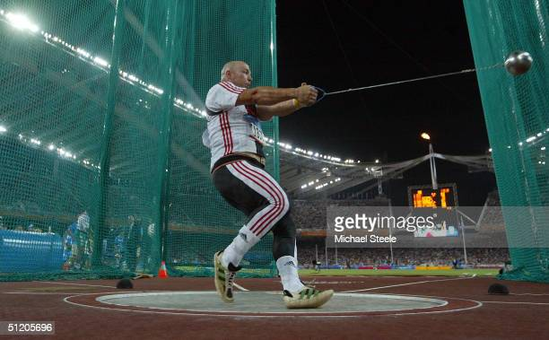 Marcus Esser of Germany competes in the men's hammer throw final on August 22, 2004 during the Athens 2004 Summer Olympic Games at the Olympic...