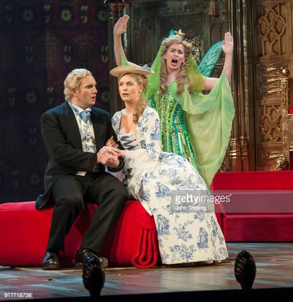 Marcus Farnsworth as Stephon, Ellie Laugharne as Phylis and Sanmatha Price as Iolanthe on stage in a new production by English National Opera of...