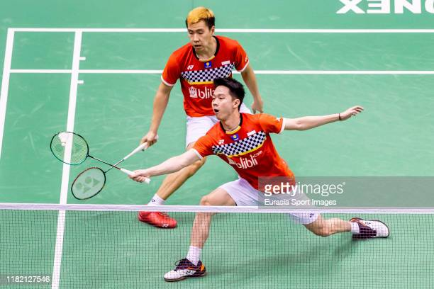 Marcus Fernaldi Gideon and Kevin Sanjaya Sukamuljo of Indonesia in action during the men's doubles against Lu Ching Yao and Yang Po Han of Taiwan on...