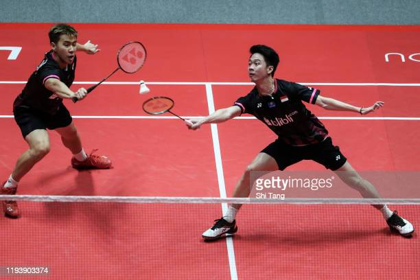 Marcus Fernaldi Gideon and Kevin Sanjaya Sukamuljo of Indonesia compete in the Men's Doubles semi finals match against Hiroyuki Endo and Yuta...