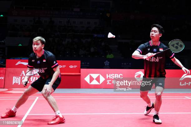 Marcus Fernaldi Gideon and Kevin Sanjaya Sukamuljo of Indonesia in action during the men's doubles semi final match against Hiroyuki Endo and Yuta...