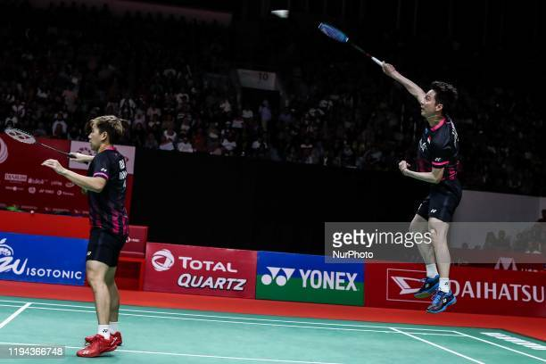 Marcus Fernaldi Gideon and Kevin Sanjaya Sukamuljo of Indonesia competes in the Men Doubles semifinal match against Aaron Chia and Soh Wooi Yik of...