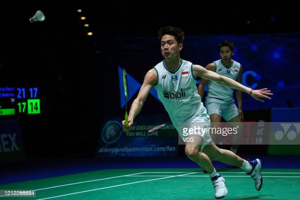 Marcus Fernaldi Gideon and Kevin Sanjaya Sukamuljo of Indonesia compete in the Men's Doubles quarterfinal match against Aaron Chia and Soh Wooi Yik...