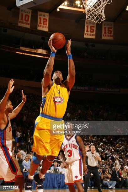 Marcus Fizer of Maccabi Elite Tel Aviv shoots against the New York Knicks at Madison Square Garden October 11 2007 in New York City NOTE TO USER User...