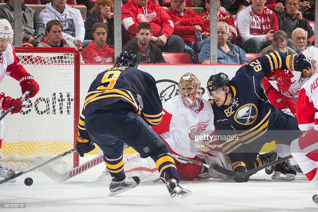 8f24e0a84 Marcus Foligno  82 of the Buffalo Sabres collides with Petr Mrazek  34 of  the