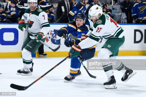 Marcus Foligno of the Minnesota Wild controls the puck as Vladimir Sobotka of the St Louis Blues pressures at Scottrade Center on February 6 2018 in...