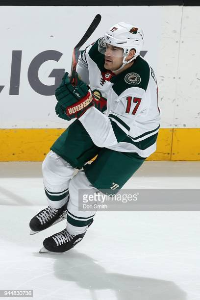 Marcus Foligno of the Minnesota Wild looks on during a NHL game against the San Jose Sharks at SAP Center on April 7 2018 in San Jose California...