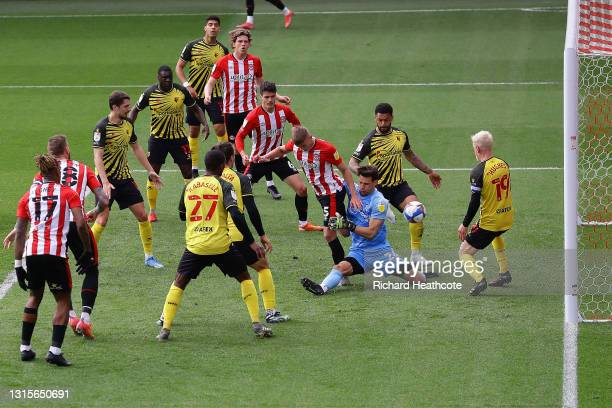 Marcus Forss of Brentford scores a goal which is later ruled out for offside during the Sky Bet Championship match between Brentford and Watford at...