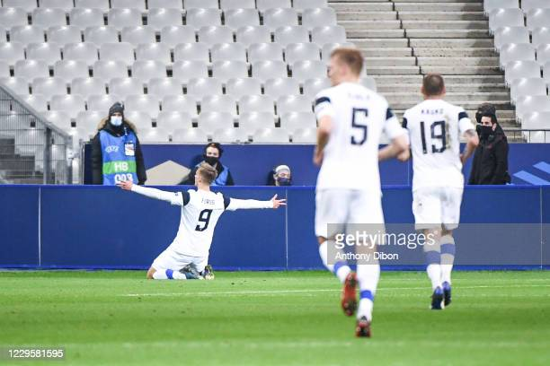 Marcus FORSS of Finland celebrates during the international friendly match between France and Finland at Stade de France on November 11, 2020 in...