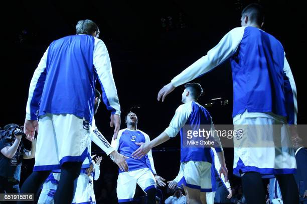 Marcus Foster of the Creighton Bluejays is introduced prior to the start of the game against Xavier Musketeers during the Big East Basketball...