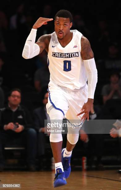 Marcus Foster of the Creighton Bluejays reacts after a basket in the first half against the Providence Friars during the Big East basketball...