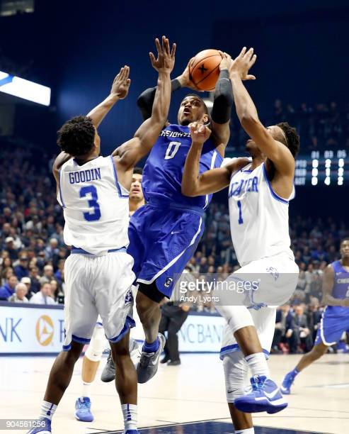 Marcus Foster of the Creighton Bluejays shoots the ball against the Xavier Musketeers at Cintas Center on January 13 2018 in Cincinnati Ohio