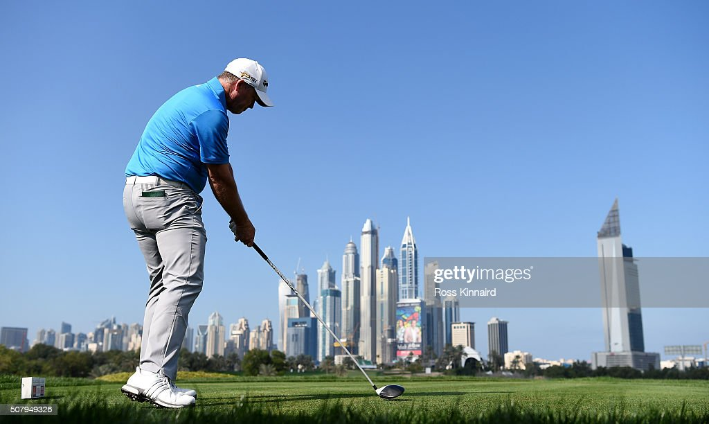 Marcus Fraser of Australia during a practice round prior to the Omega Dubai Desert Classic on the Majlis course at the Emirates Golf Club on February 2, 2016 in Dubai, United Arab Emirates.