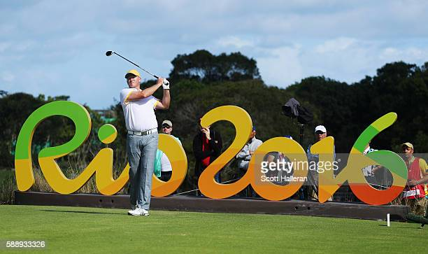 Marcus Fraser of Australia hits his tee shot on the 16th hole during the second round of the golf on Day 7 of the Rio 2016 Olympic Games at the...