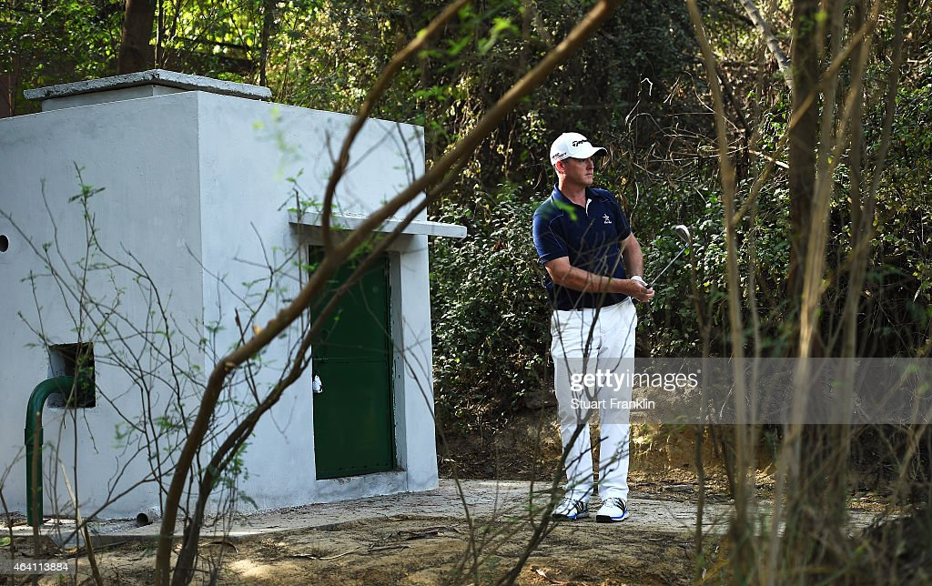 Marcus Fraser of Australia plays a shot during the final round of the Hero India Open Golf at Delhi Golf Club on February 22, 2015 in New Delhi, India.