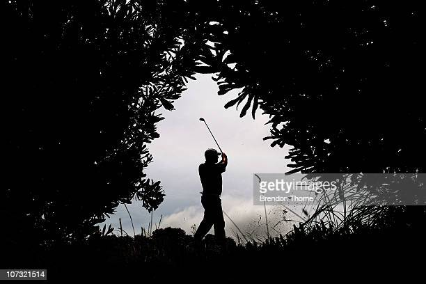 Marcus Fraser of Australia plays a shot on the 12th hole during day three of the Australian Open at The Lakes Golf Club on December 4 2010 in Sydney...