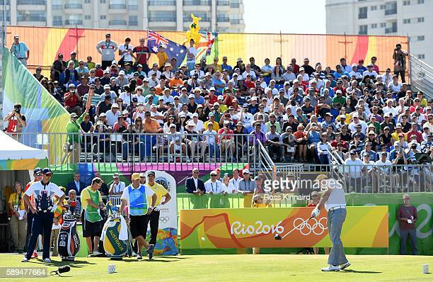 Marcus Fraser of Australia plays his shot from the first tee during the final round of golf on Day 9 of the Rio 2016 Olympic Games at the Olympic...