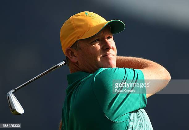 Marcus Fraser of Australia plays his shot from the fourth tee during the first round of men's golf on Day 6 of the Rio 2016 Olympics at the Olympic...