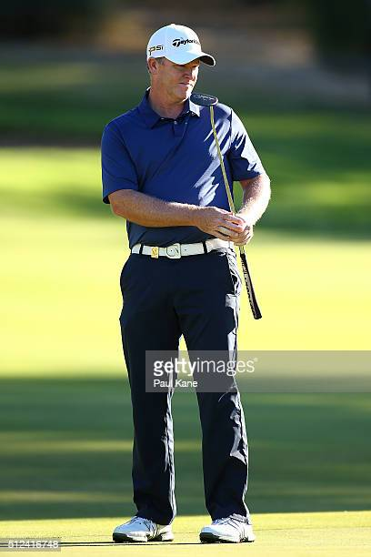 Marcus Fraser of Australia watches a putt on the 13th green during day two of the 2016 Perth International at Karrinyup GC on February 26 2016 in...